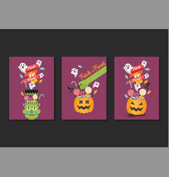 Halloween trick or treat poster collection vector