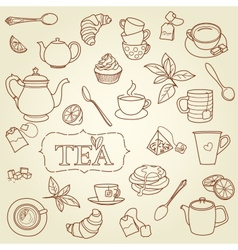 Hand drawn tea doodle concept vector image