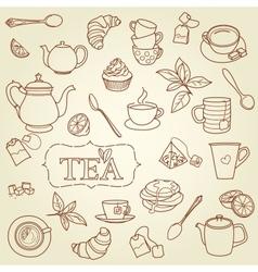 Hand drawn tea doodle concept vector