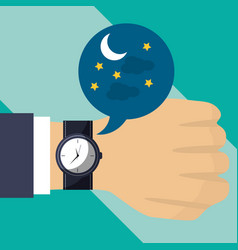 hand with wrist watch time night vector image
