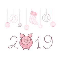 happy cute funny pink pig 2019 hand drawn vector image