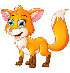 Happy fox cartoon isolated on white background vector