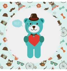 Hipster bear holding heart vector