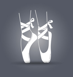Icon ballerinas feet on pointes black and white vector