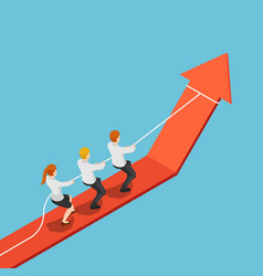 isometric business team pull red arrow graph up vector image