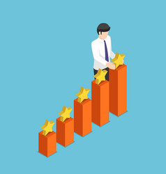 isometric businessman putting star on the top vector image