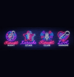 Karaoke set of neon signs collection is a light vector