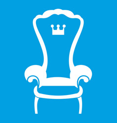 King throne chair icon white vector