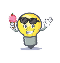 Light bulb character cartoon with ice cream vector