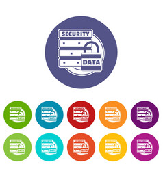 lock data security icons set color vector image
