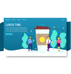 Lunch time landing page website template vector