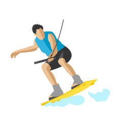Man wakeboarding in action summer fun hobby water vector