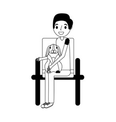man with rabbit sitting on chair vector image