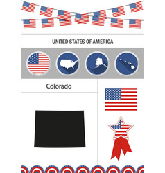 Map of colorado set of flat design icons vector