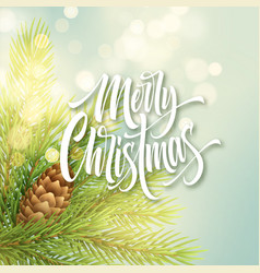 merry christmas white hand drawn lettering on vector image