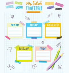 my school timetable schedule back to school vector image