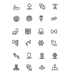 Network and Sharing Outline Icons 2 vector