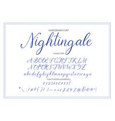 nightingale handdrawn calligraphic font vector image