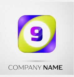 Number nine logo symbol in the colorful square on vector