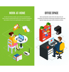 office space vertical banners vector image
