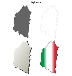 Ogliastra blank detailed outline map set vector