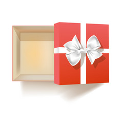 Open empty gift box with bow view from above vector