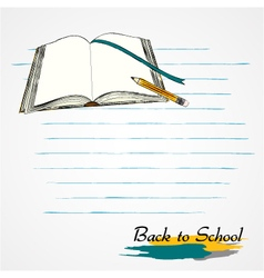 Opened book and pencil vector