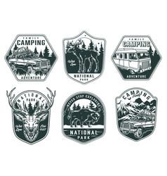 outdoor recreation vintage monochrome emblems vector image