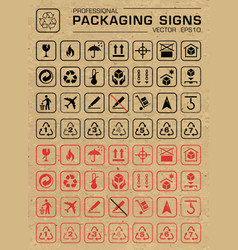 packaging grunge icons set vector image