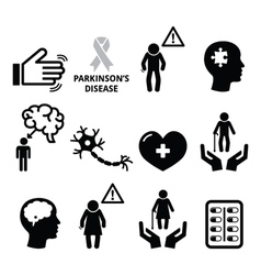 Parkinsons disease seniors health icons set vector image