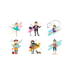 people enjoying various hobbies set man and woman vector image