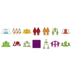 people group icon set color outline style vector image