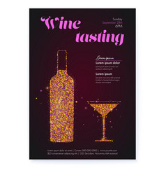 poster for wine tasting events color glittering vector image