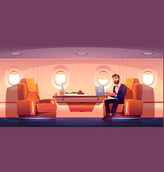 Private jet interior business class in airplane vector