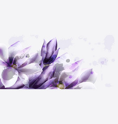 purple flowers watercolor beautiful vector image