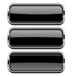 rectangle black buttons with bold chrome frame 3d vector image