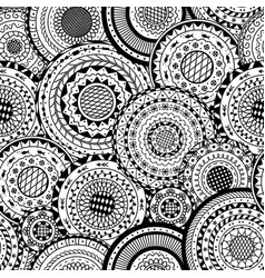 seamless pattern from round mandalas vector image