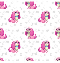 seamless pattern with beautiful cartoon little vector image