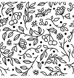 seamless pattern with doodle branches and berries vector image