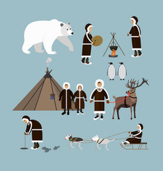 set arctic people and animals flat style vector image