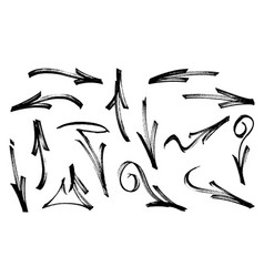 Set graffiti arrows drawn a marker vector