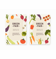 Set green fair harvest festival or farmers vector