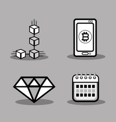 set icon bitcoin money currency vector image