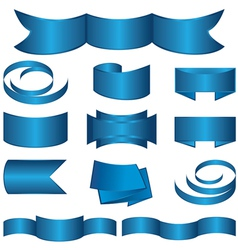 Set of blue ribbon and stickers vector