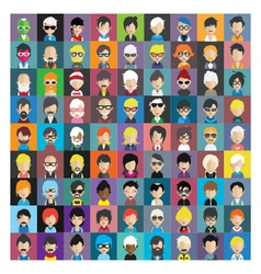 Set people icons in flat style with faces 14 b vector