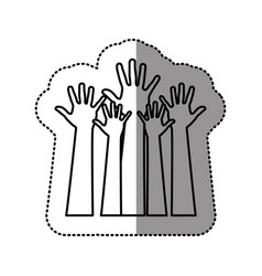 Silhouette hands up icon vector