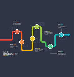 Six steps timeline or milestone infographic chart vector