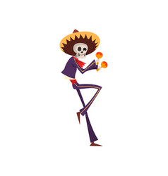 skeleton in mexican national costume dancing and vector image