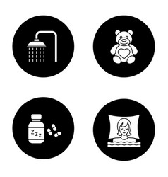 sleeping accessories glyph icons set vector image