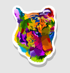 sticker colorful tiger face vector image